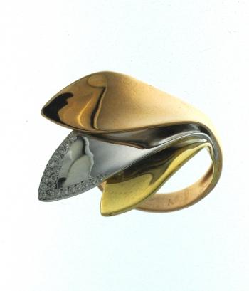Αγορά Δακτυλίδι σε 18 καράτια στα 3 χρώματα του χρυσού με διαμάντια