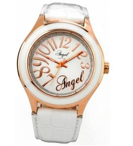 Αγορά Ρολόι της ANGEL από ροζ επιχρυσωμένο ατσάλι με λευκό δερμάτινο λουράκι