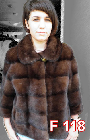 Mink jacket with 3/4 sleeves