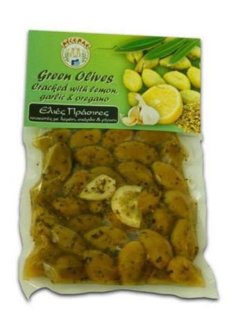 Αγορά Green cracked olives with garlic, lemon and oregano in 200gr vacuum pack