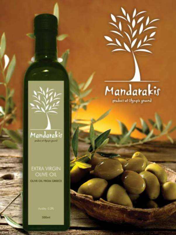 Greek Extra Virgin Olive Oil of low acidity < 0.3%.