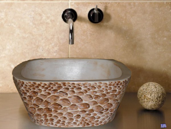 Αγορά Handmade tabletop washbasin travertine with snake skin painting project. Dimensions 32x32x3, 5cm