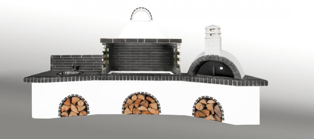 Αγορά Ψησταριές κήπου - Barbecue garden - барбекю - Με με πάγκο - νεροχύτη, ψησταριά, φούρνο με ξύλα, παραδοσιακό και μαύρο - γκρι πυρότουβλο Νο 0216