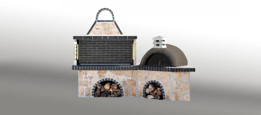 Αγορά Ψησταριές κήπου - Barbecue garden - барбекю - Ψησταριά με παραδοσιακό φούρνο με ξύλα, με ακανόνιστο πωρόλιθο και γκρι πυρότουβλο - No 0214