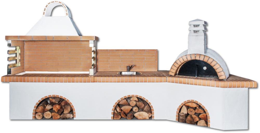 Αγορά Ψησταριές Set με πάγκο – νεροχύτη, ψησταριά, παραδοσιακό φούρνο με ξύλα και κίτρινο πυρότουβλο, CODE 0217 NEW SXISTOLITHOS
