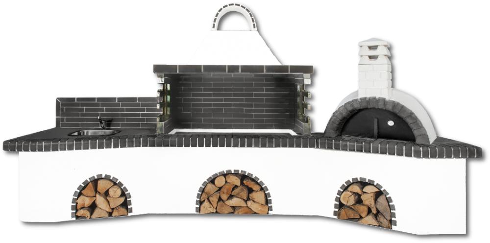 Αγορά Ψησταριές κήπου – Barbecue garden - Gartengrill με πάγκο – νεροχύτη, ψησταριά, φούρνο με ξύλα, παραδοσιακό και μαύρο – γκρι πυρότουβλο , CODE NEW 0216 SXISTOLITHOS
