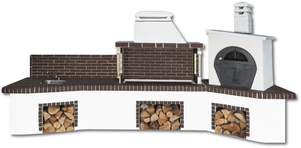 Αγορά Ψησταριές κήπου – Barbecue garden - Gartengrill - BBQ SET – барбекю - με πάγκο – νεροχύτη, φούρνο με ξύλα, παραδοσιακό και καφέ πυρότουβλο , CODE NEW 0215 SXISTOLITHOS