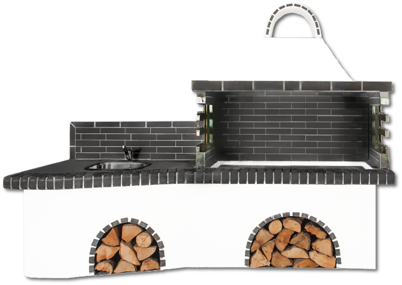 Αγορά Ψησταριές κήπου – Barbecue garden- BBQ SET - Gartengrill set - με πάγκο – νεροχύτη, ψησταριά και μαύρο – γκρι πυρότουβλο , CODE NEW 0222 SXISTOLITHOS