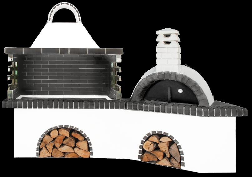 Αγορά Ψησταριές κήπου – Barbecue garden - BBQ SET - Gartengrill set - με ψησταριά, φούρνο με ξύλα, παραδοσιακό και μαύρο – γκρι πυρότουβλο, CODE NEW 0223 SXISTOLITHOS