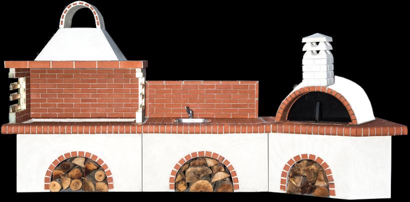 Αγορά Ψησταριές κήπου σετ με παραδοσιακό φούρνο με ξύλα, πάγκο – νεροχύτη με κόκκινο πυρότουβλο (CPDE 0203 NEW)