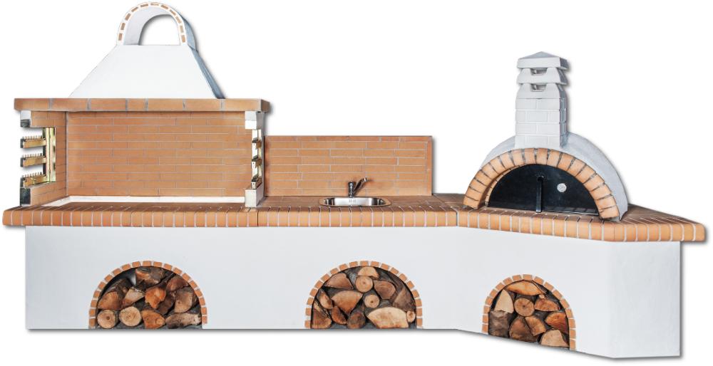 Αγορά Ψησταριές Set με πάγκο – νεροχύτη, ψησταριά, παραδοσιακό φούρνο με ξύλα και κίτρινο πυρότουβλο
