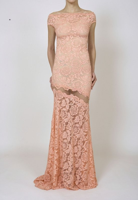LONG ELASTIC LACE DRESS WITH NET EMBROIDERED DETAIL