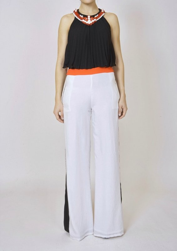 SILK CREPE DE CHINE JUMPSUIT WITH EMBROIDERED COLLAR