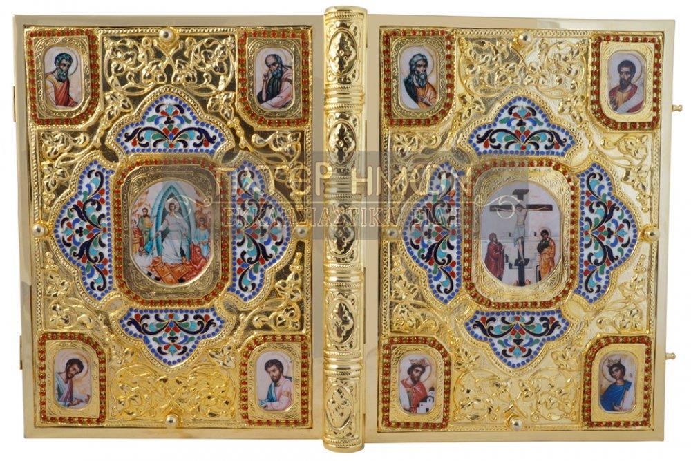 Αγορά 200-035 - Επίχρυσο Ιερό Ευαγγέλιο από Ορείχαλκο με Σμάλτο και Σχέδιο Στεφανάκια