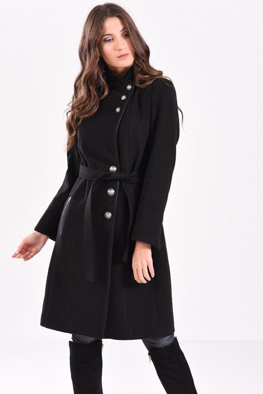 Αγορά Μακρύ παλτό με κουμπιά και δέσιμο στην μέση