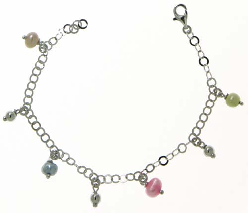 Αγορά Ασημενιο παιδικό bracelet 9.25 - BRM με πολύχρωμες πέρλες