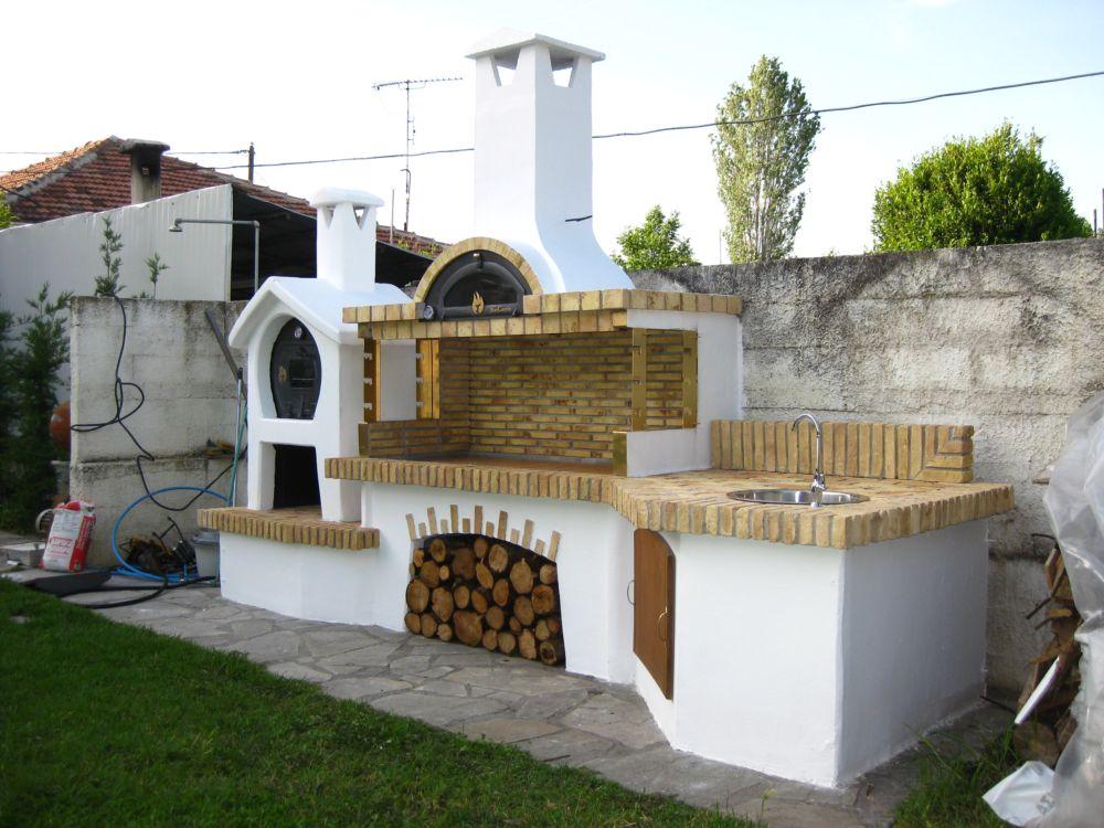 Ψησταρια κηπου ( bbq - барбекю )Ψησταρια κηπου- ξυλοφουρνος- παγκος εργασιας  & βρυση με νεροχυτη