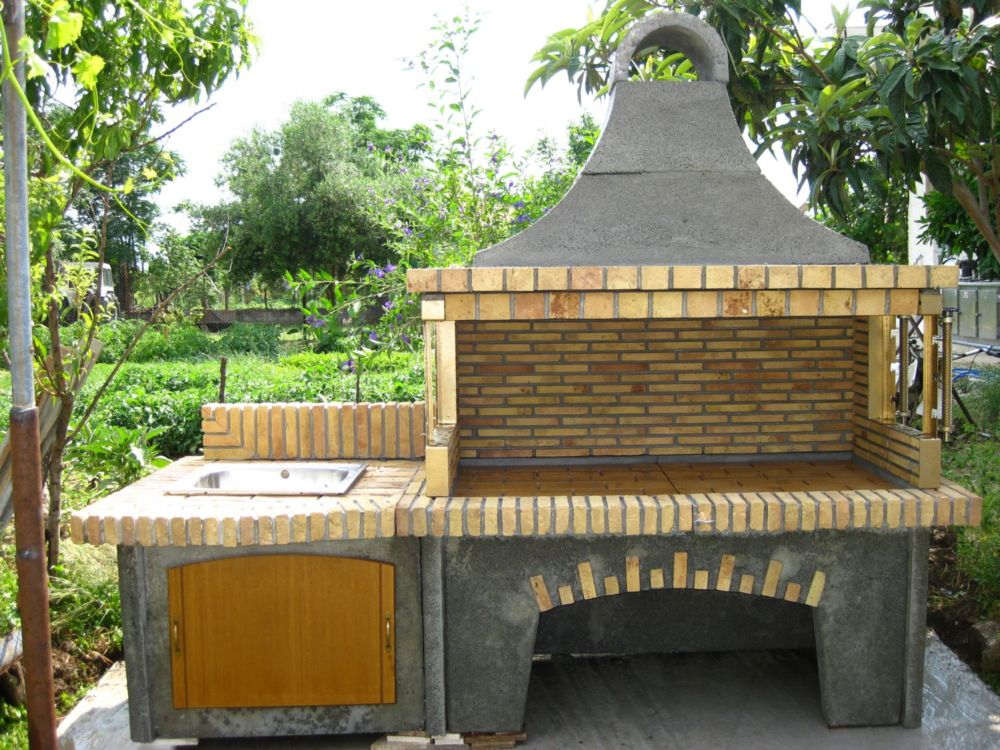 Ψησταρια ξυλου - με παγκο εργασιας νεροχυτη  (bbq - барбекю)