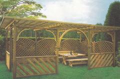 Εξοπλισμό αίθριων χώρων, αυλών, κήπων, ξύλινες και μεταλλικές πέργκολες