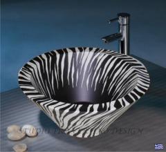 Χειροποίητος επιτραπέζιος νιπτήρας μπάνιου ζέμπρα