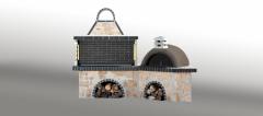 Ψησταριές κήπου - Barbecue garden - барбекю - Ψησταριά με παραδοσιακό φούρνο με ξύλα, με ακανόνιστο πωρόλιθο και γκρι πυρότουβλο - No 0214
