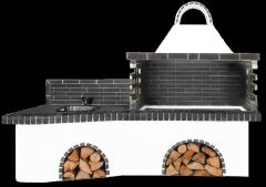 Ψησταριές κήπου – Barbecue garden με πάγκο – νεροχύτη, ψησταριά και μαύρο – γκρι πυρότουβλο, NEW CODE 0222 SXISTOLITHOS