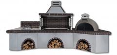 Ψησταριές κήπου – Barbecue garden -  BBQ SET - Gartengrill set με πάγκο – νεροχύτη, ψησταριά, παραδοσιακό φούρνο με ξύλα και καφέ πυρότουβλο, CODE NEW 0202 SXISTOLITHOS