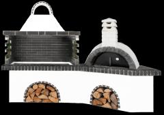 Ψησταριές κήπου – Barbecue garden - BBQ SET - Gartengrill set - με ψησταριά, φούρνο με ξύλα, παραδοσιακό και μαύρο – γκρι πυρότουβλο, CODE NEW 0223 SXISTOLITHOS