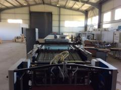 Rotary screen printing line with uv and infrared