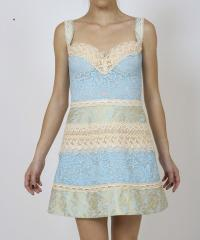 SHORT BROCADE AND LACE PIECED DRESS