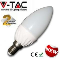 Λαμπτήρας LED E14 κεράκι 4watt V-TAC θερμό λευκό 2700Κ