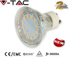 Λαμπτήρας LED σπότ 3W GU10 glass SMD 5050 V-TAC θερμό λευκό 3000Κ
