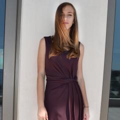 Ζέρσεϊ Φόρεμα με Ντραπέ red wine