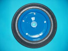 Solid rubber wheel.