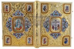200-035 - Επίχρυσο Ιερό Ευαγγέλιο από Ορείχαλκο με Σμάλτο και Σχέδιο Στεφανάκια