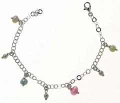 Ασημενιο παιδικό bracelet 9.25 - BRM με πολύχρωμες