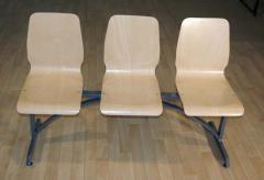 Μεταλλικό Σύστημα αναμονής με έδρα πλάτη Κ/Π οξιάς