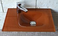 Νιπτήρας Γυάλινος Πορτοκαλί 35x51.