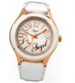 Ρολόι της ANGEL από ροζ επιχρυσωμένο ατσάλι με λευκό δερμάτινο λουράκι