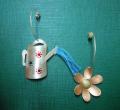 Χειροποίητα σκουλαρίκια από ασήμι 925 (ποτιστήρι και κρίκοι), χαλκό (λουλούδι)
