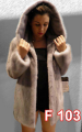 Mink jacket with hood and belt
