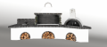 Ψησταριές κήπου - Barbecue garden - барбекю - Με με πάγκο - νεροχύτη, ψησταριά, φούρνο με ξύλα, παραδοσιακό και μαύρο - γκρι πυρότουβλο Νο 0216