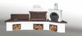 Ψησταριές κήπου - Barbecue garden - барбекю - Με πάγκο - νεροχύτη, φούρνο με ξύλα, παραδοσιακό και καφέ πυρότουβλο  Νο 0215